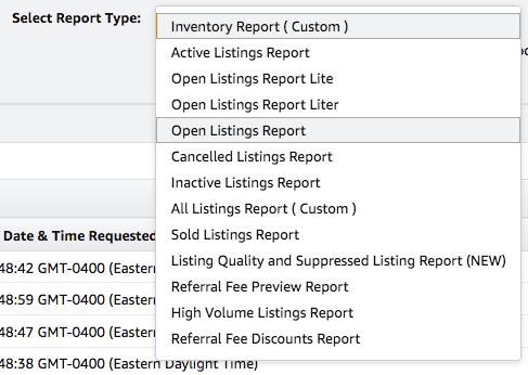 amazon run open listing report 2