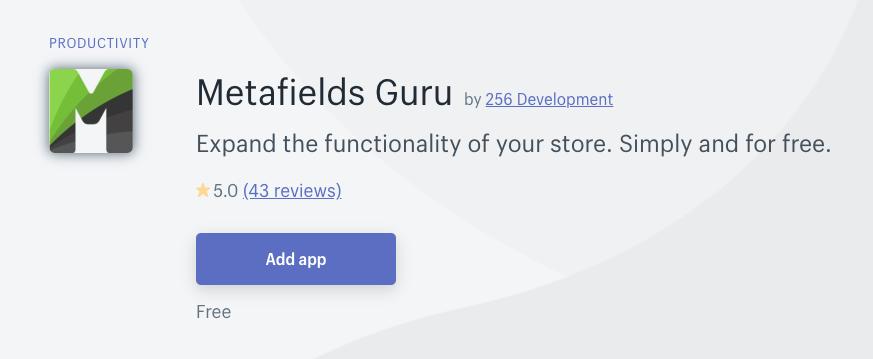 Install Metafields App