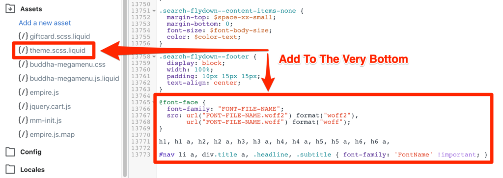 add custom font code to css file in shopify
