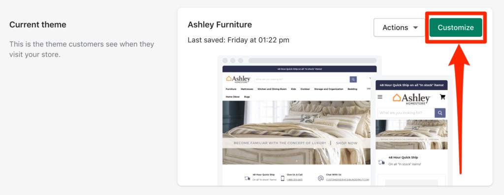 customize theme shopify button example