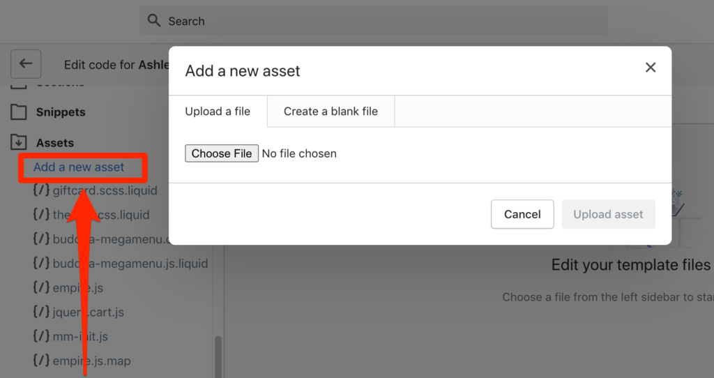 how to upload asset to shopify theme