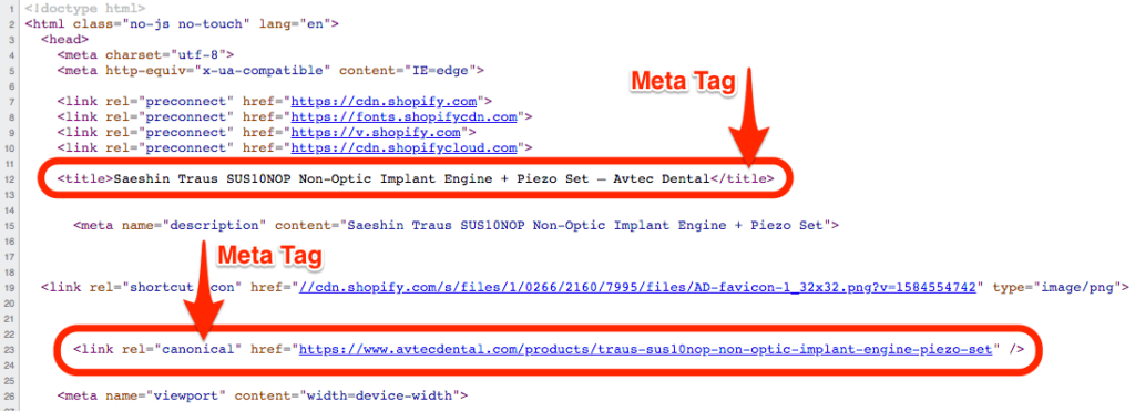pelican commerce crawling process example meta tags