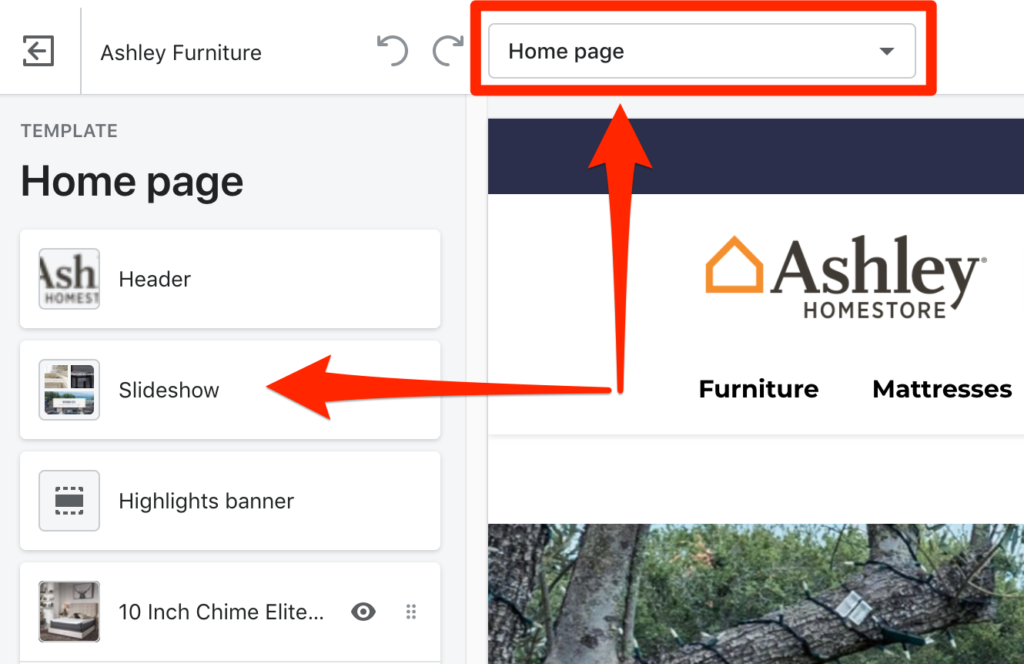 selecting theme edit page example