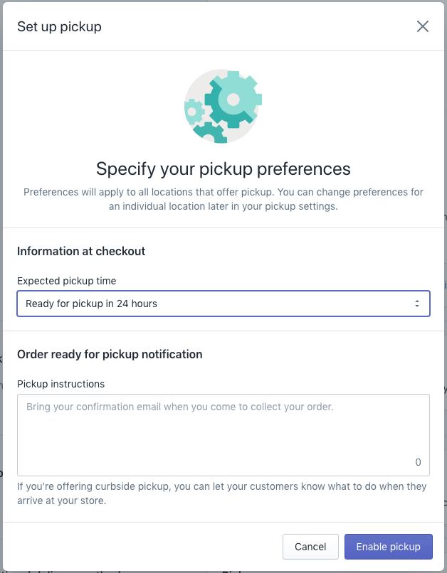shopify local pick option